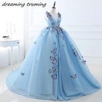 2018 новый синий Бальные платья Вышивка бабочка Кружево назад длинные пухлые сладкий 16 платье пышные платья