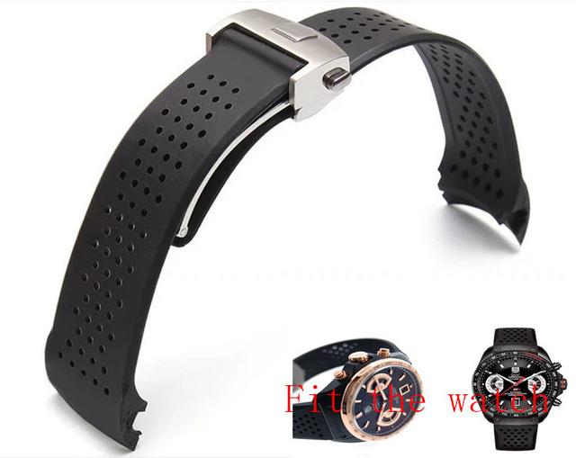 22mm TOP Correa De Caucho de Silicona Súper-delgado de Plata Fold Implementación de cierre de Hebilla de Reloj de Acero Inoxidable BANDAS Correa Envío Gratis