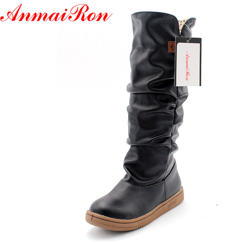 ANMAIRON Size34-43 New Women Winter Flats Round Toe Fashion Knee High Snow Boots for Women Casual Shoes Sweet Platform Boots anmairon shallow leisure striped sandals women flats shoes new big size34 43 pu free shipping fashion hot sale platform sandals