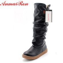 ENMAYER  size34-43 new women winter flats round toe fashion knee-high Snow boots for women casual shoes sweet platform boots new fashion shoes boots for women genuine leather motorcycle boots round toe casual autumn winter women knee high boots
