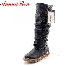 лучшая цена ENMAYER  size34-43 new women winter flats round toe fashion knee-high Snow boots for women casual shoes sweet platform boots