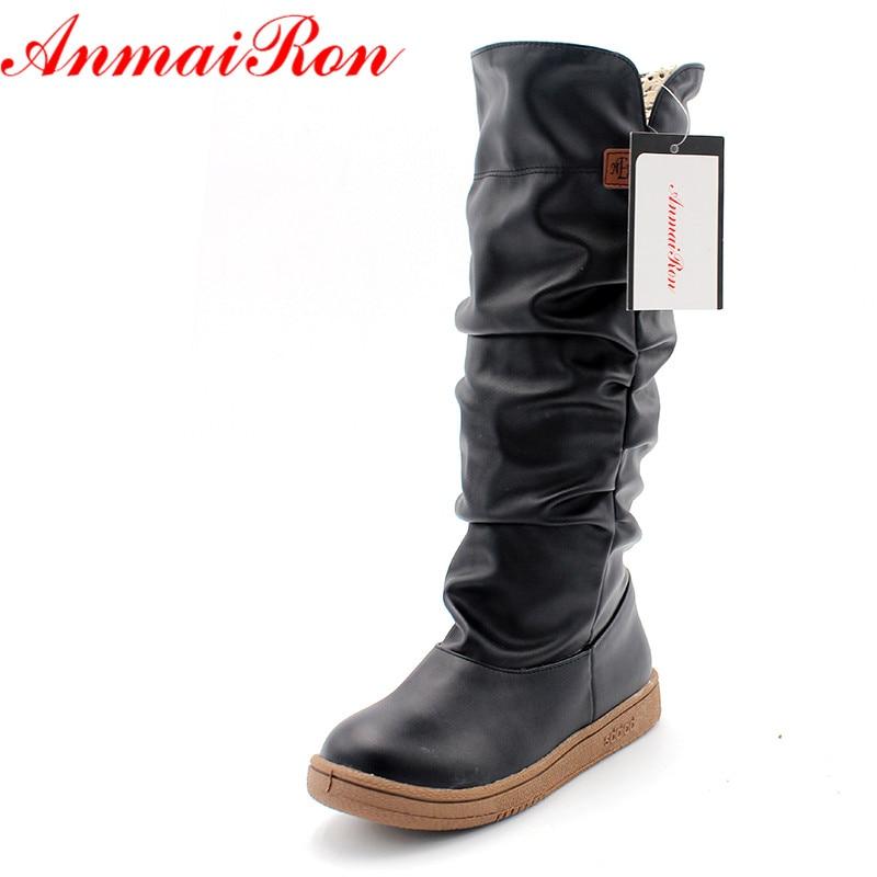 b2fe4668e4fe1 ANMAIRON Size34-43 Nouvelles Femmes D hiver Appartements Bout Rond Mode  Genou Haute Neige Bottes pour Femmes Chaussures de Sport Doux Plate-Forme  Bottes