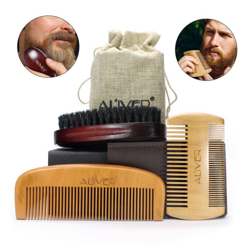 Men Moustache Beard Comb Kit for Beard & Mustache Bristles Brush & Pure Natural Schima Wood Comb Beard 3 Pcs