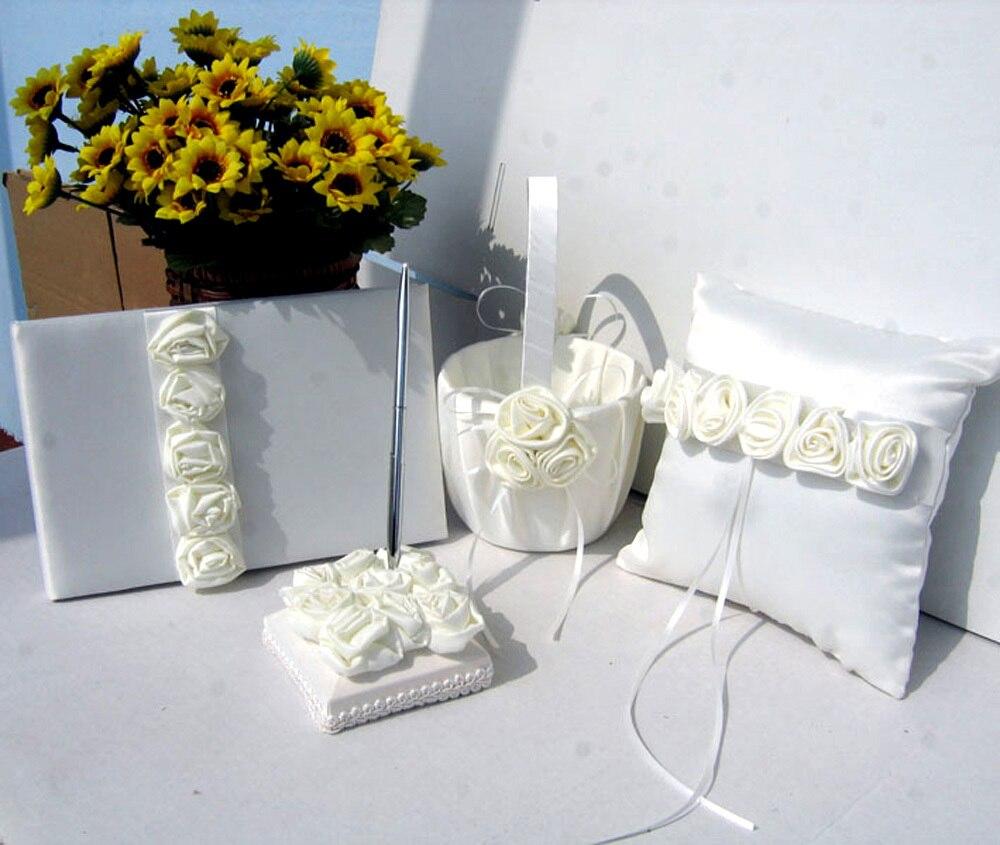4 pièces/ensemble rouge/Rose Rose décor mariage Satin anneau oreiller et panier de fleurs et livre d'or et stylo ensemble pour la décoration de mariée fournitures de produits - 2