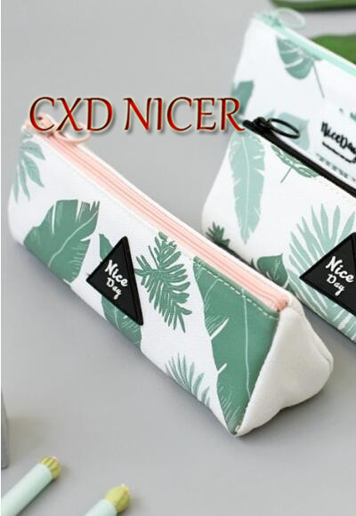 CXD Nicer Pencil Case 2018 Leaves School Stationery New Arrival Pencil Bag For Office Supplies Zipper Kawaii Pencil Bag DD1899 nicer dicer