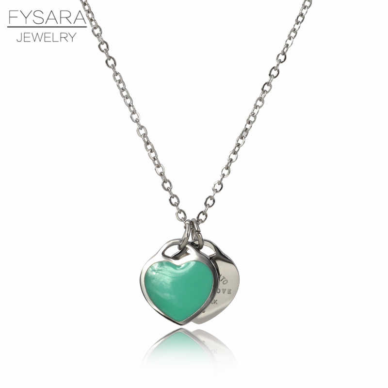FYSAFA Green/Pink FOREVER LOVE Letter Pendant Necklace Statement Choker Enamel Luxury Double Heart Short Necklace For Women Gift