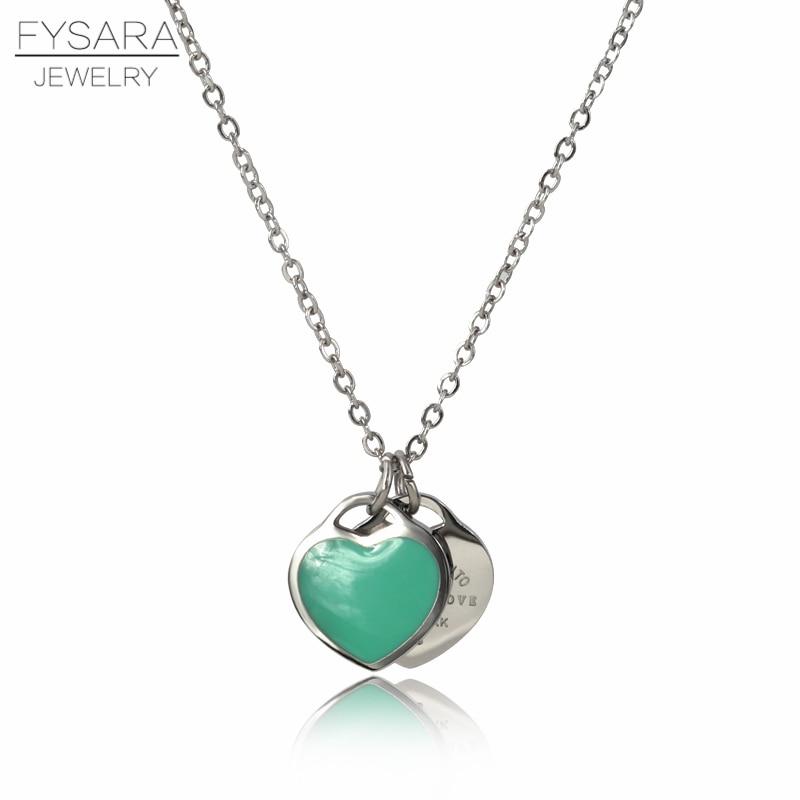 FYSAFA Green/Pink FOREVER LOVE Letter Pendant Necklace Statement Choker Enamel Luxury Double Heart Short Necklace For Women Gift