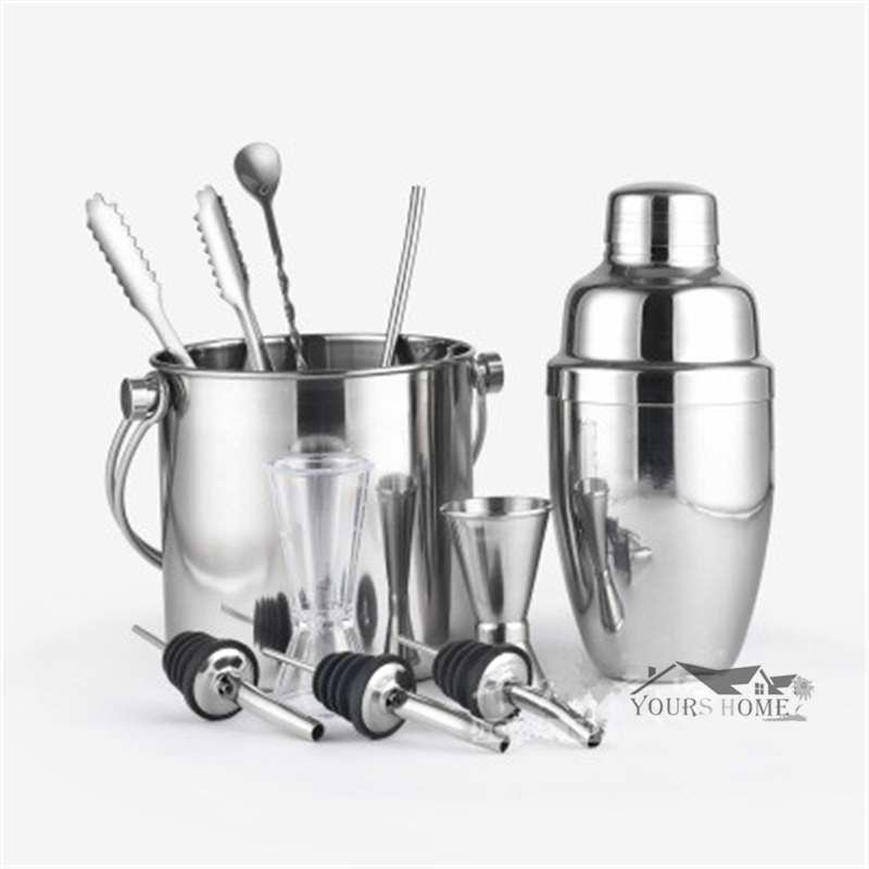 10pcs Set Bar Sets Stainless steel Lounge Cup Boston Cup Shaker Cocktail Shaker in Bar Sets from Home Garden