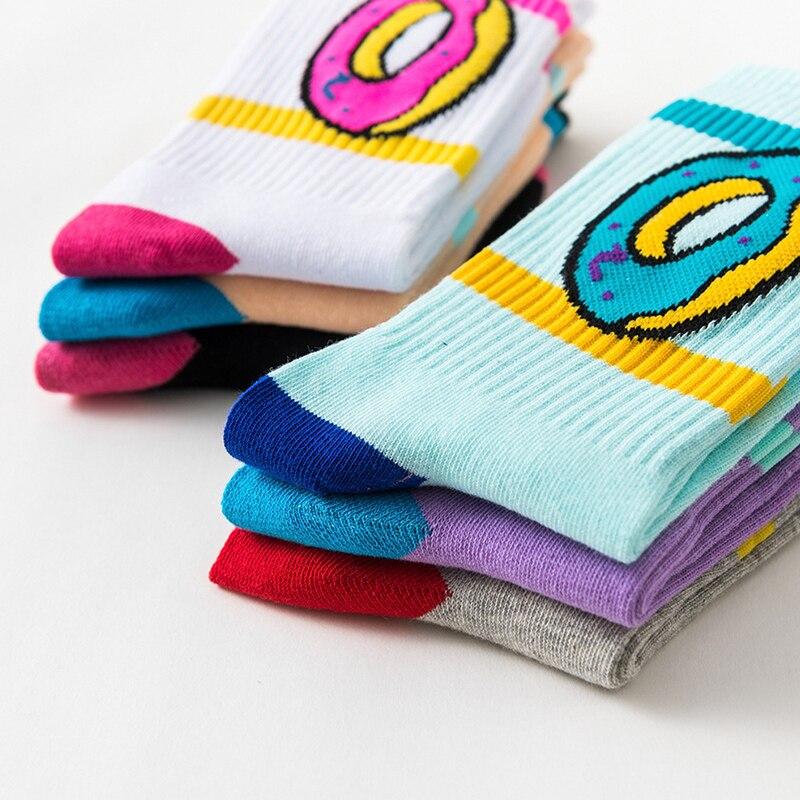 2019 new women fashion cotton   socks   cake donut funny novelty   socks   men doughnuts food crazy street   socks   teen funky   sock   fun