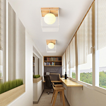 LED Modern Simple Iron Art Wood Roof Suction Lamp Balcony Corridor Glass Shade Stairway Hallway led Hall