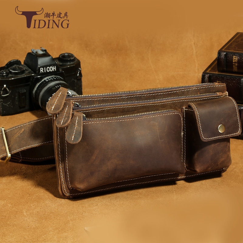 TIDING Genuine Crazy Horse Leather Men Mini Fanny Pack Belt Bag Vintage Cow Leather Hip Bum Bag 2016 New Free Ship 5 pcs dual usb 3 0 type a 18 pin female right angle socket connector
