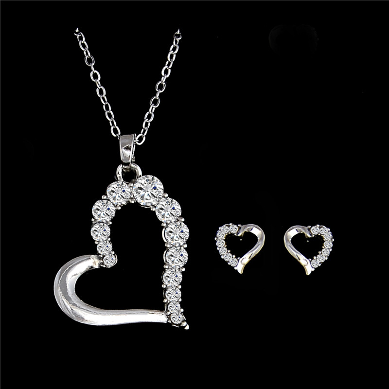 Qcooljly New Ing 1set Silver Color Fabulous Australia Rhinestone Vintage Earrings Pendant Necklace For Women Lady Whole In Jewelry Sets From