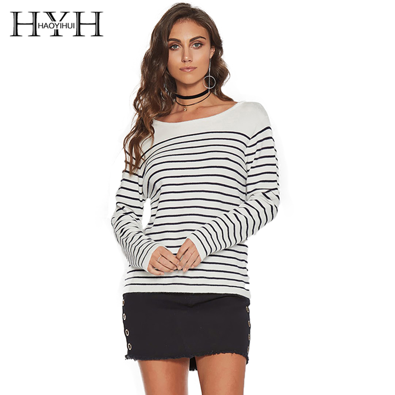 HYH HAOYIHUI Brand Women Striped Casual Sweaters O Neck Split Back Lace Up Lady Sexy Pullovers Lady Fashion Soft Loose Tops in Pullovers from Women 39 s Clothing