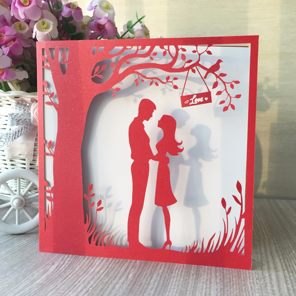 30pcs Pearlized Glossy paper Red Color Vintage Romantic Wedding ...