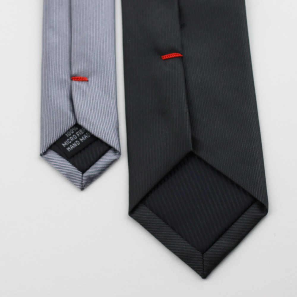Coachella ties dasi knot kontras desain warna solid dasi jacquard kurus dasi 6 cm abu-abu gelap dan biru navy