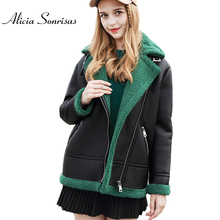 Jacket Coats Faux-Sheepskin-Coat Shearling Thick Winter Women New Red Fur PU AS3713 4-Colors
