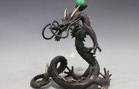 10 Китайский Чистая Бронзовый Медь фэн шуй Дракон играющий с Бусиной дворец Декор статуя