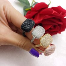 jankelly Fashion design AAA cubic zirconia square shaped pave setting open ring for women accessories,best quality