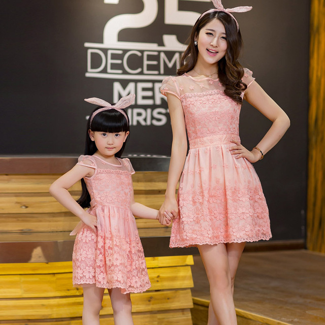 Lace Dresses Family Set Fashion Clothes Dresses for Mother and Daughter Family Clothes Girls Dresses Clothing (Pink/Blue), DR05