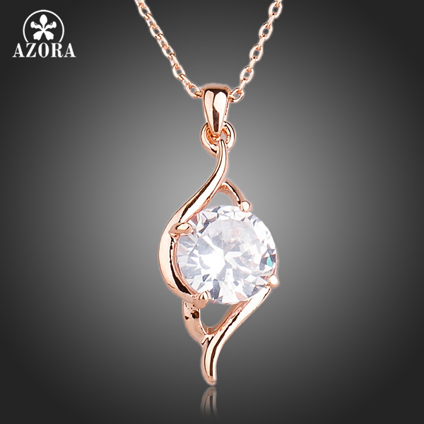 AZORA Rose Gold Farge Clear Cubic Zirconia Anheng Halskjede TN0141