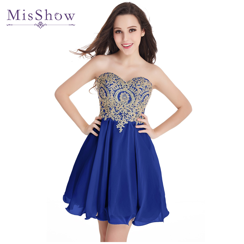 2019 New A Line Sweetheart Elegant Gold Lace Appliques Royal Blue Short   Evening     Dress   Robe De Soiree Courte   Evening   Gown