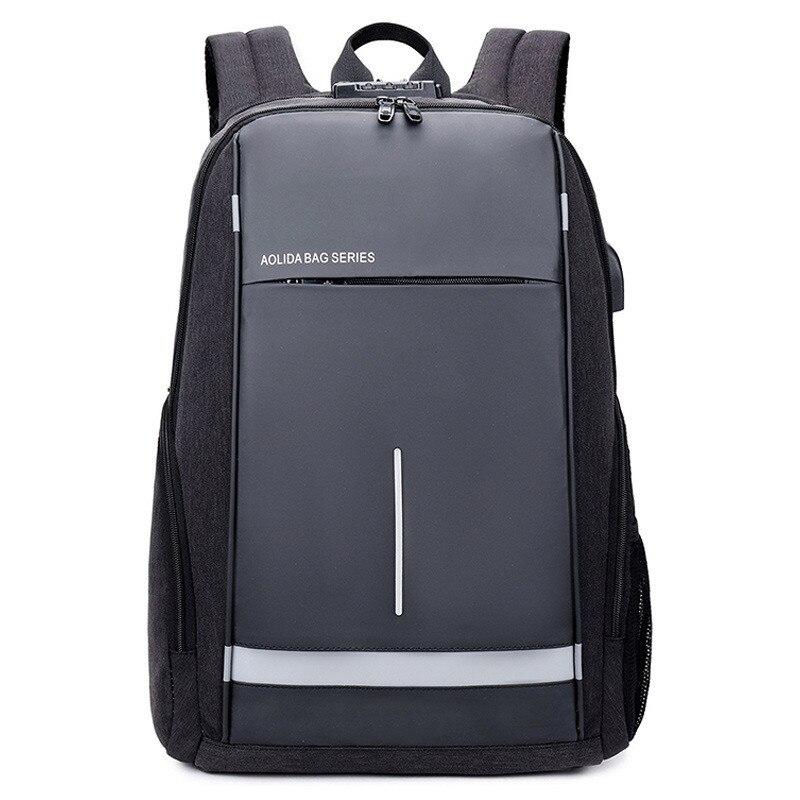 External USB Charge Backpack Men Anti Theft Lock Laptop Bag School Bags Waterproof Male Travel Backpacks With Headphone Plug