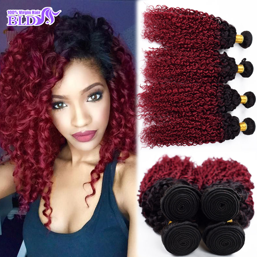 Brazilian Hair Weave Bundles Ombre Kinky Curly Virgin Hair Burgundy