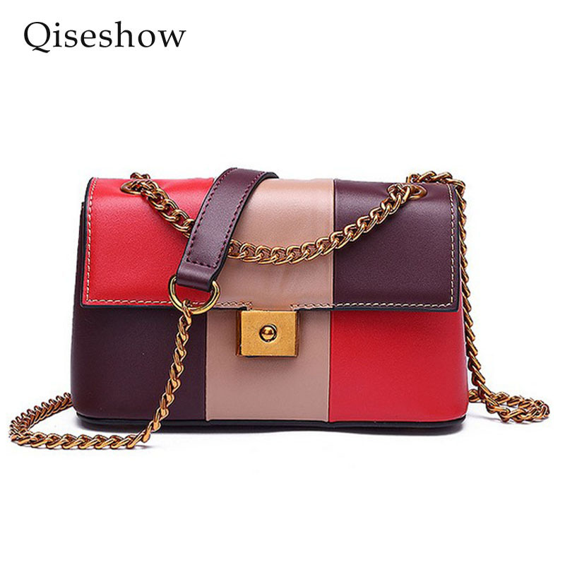 ФОТО 2017 new Spring summer geometric collisi color Split leather woman chain bag shoulder messenger bag lock small single bag