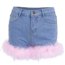 2018 New Women Pink Turkey Feather Denim Shorts Slim Vintage High Waist Short Jeans