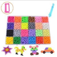 Children Toys Water Beads 24 Color Sticky Pegboard Set Fuse Beads Jigsaw Water Beads Bond Toy