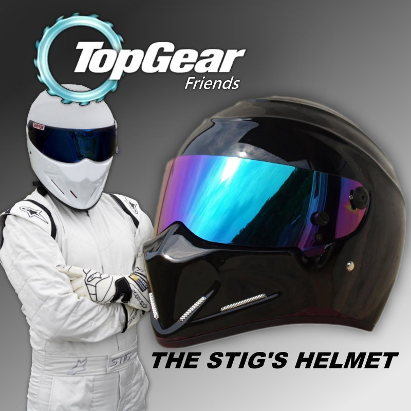 For Topgear The STIG Helmet with Colorful Visor /TG Collectable / Like SIMPSON Pig / Black Motorcycle Helmet / Who is the Stig ? лонгслив stig лонгслив