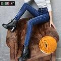 Jeans ajustados Pantalones de Mezclilla Femenina Pantalones Casuales Pantalones Lápiz femenino de Terciopelo Caliente de Espesor Delgado Stretch Pantalones Vaqueros de Cintura Alta de Las Mujeres de Invierno
