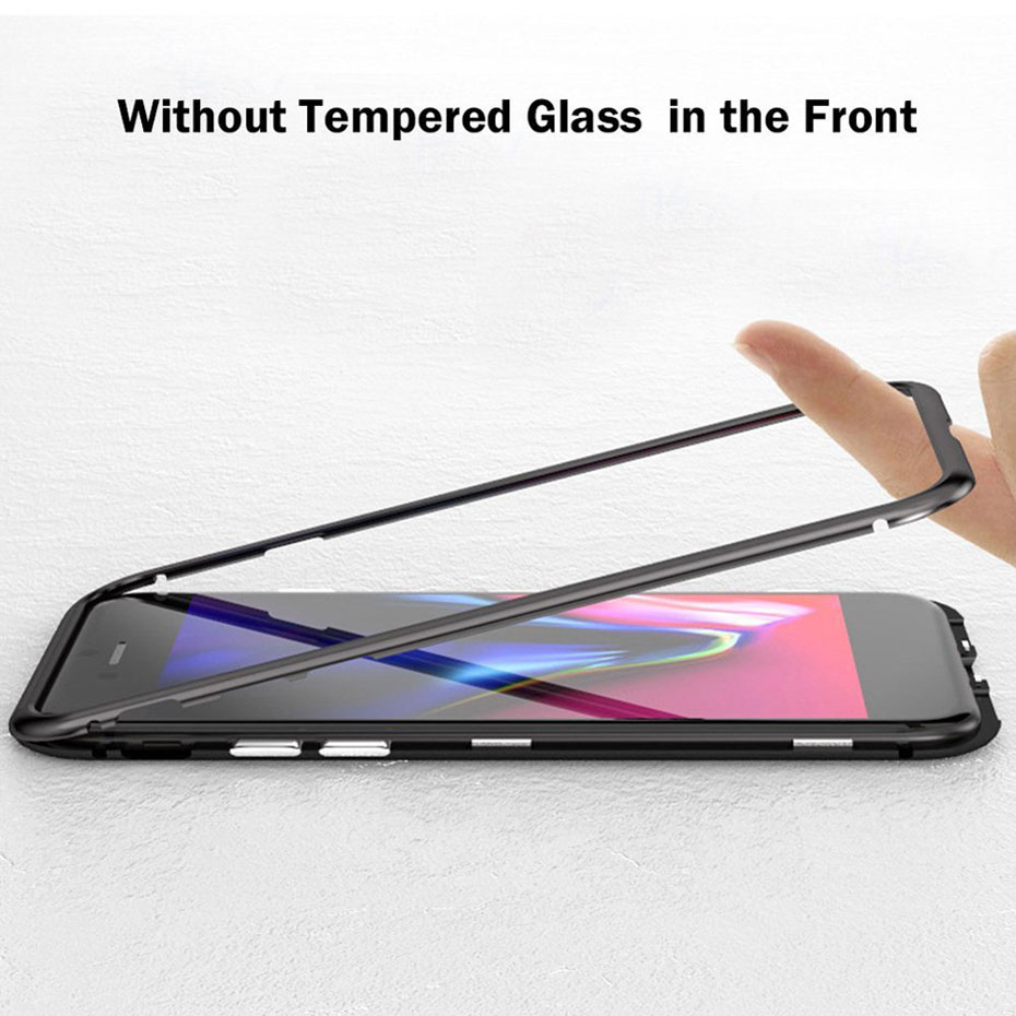 Image 3 - Dirt resistant Metal Magnetic anti knock phone Case for apple iphones iphone 7 8 X S Plus plain fitted case+Back Tempered Glass-in Phone Bumpers from Cellphones & Telecommunications