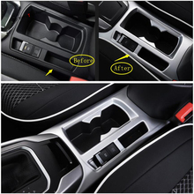 Yimaautotrims Front Water Cup Holder Decoration Cover Trim Fit For Volkswagen T-Roc T Roc 2018 2019 ABS Matte Carbon Fiber Look yimaautotrims steering wheel button frame molding cover trim fit for nissan qashqai j11 2017 2018 abs matte carbon fiber look