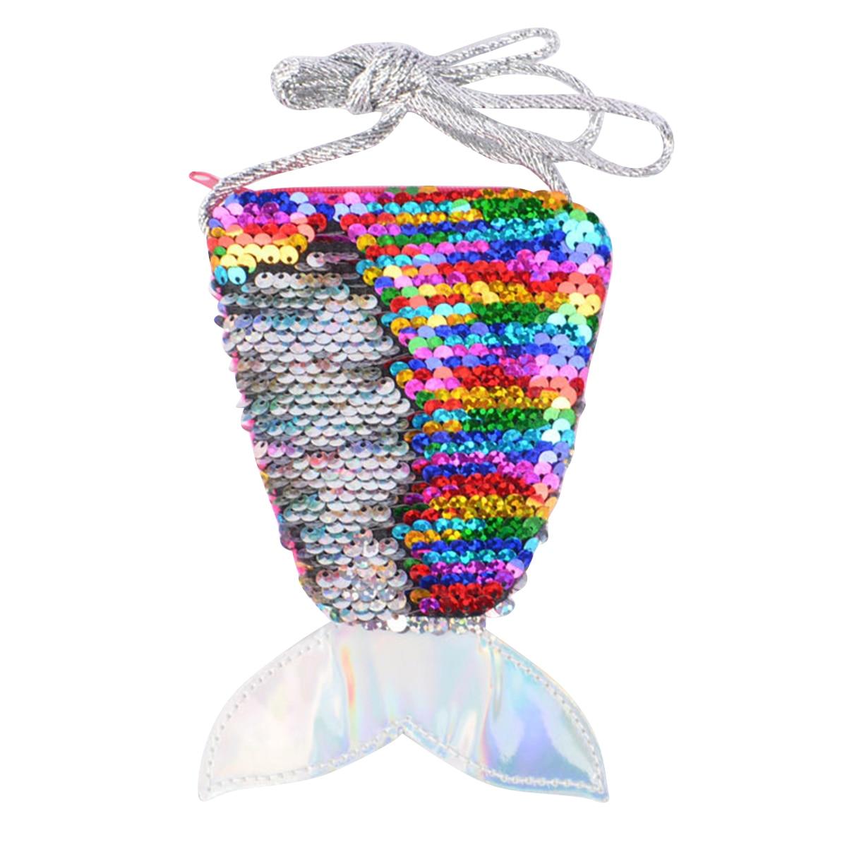 Nosii Purse Pouch Long-String Messenger-Bag Zipper Mini Kids Sequin with for Girls Wallet