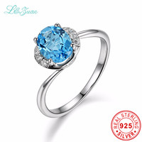 L Zuan 925 Sterling Silver Natural 1 52ct Topaz Star Prong Setting Blue Stone Ring Jewelry