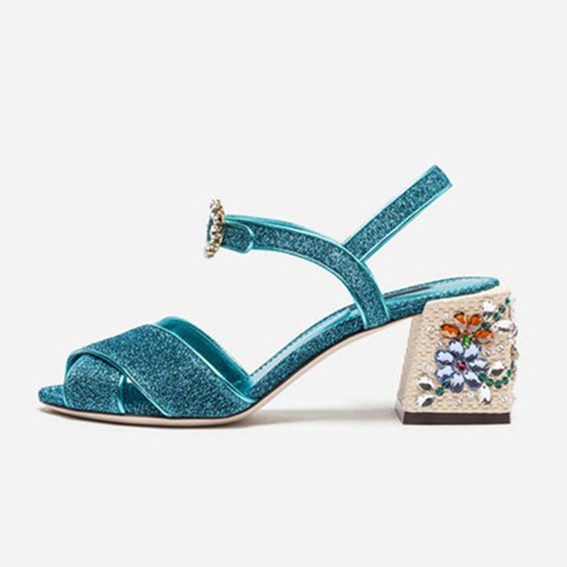 Nueva moda de marca de flores tacones altos de cristal tachonado Sandalias Mujer tacón grueso Peep Toe gladiador sandalias mujeres zapatos de verano-in Zapatos de tacón de mujer from zapatos    1