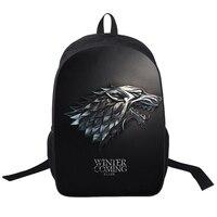 16 Inch Anime Game Of Thrones Backpack For Teenagers Boys Girls School Bags Women Men Travel