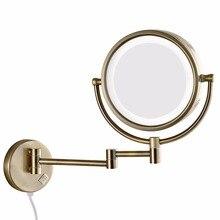 Зеркало для макияжа с 10 кратным увеличением GURUN, зеркало для макияжа с подсветкой, светодиодные лампы, расширенное складное зеркало для ванны с настенным креплением, двустороннее