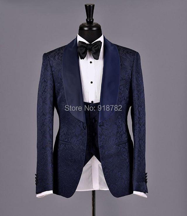Costume Homme 2018 Latest Designs 3 Pieces Tuxedo Groom Wedding Suits Groomsman Navy Blue Coat Black Pant Paisley Suit Men