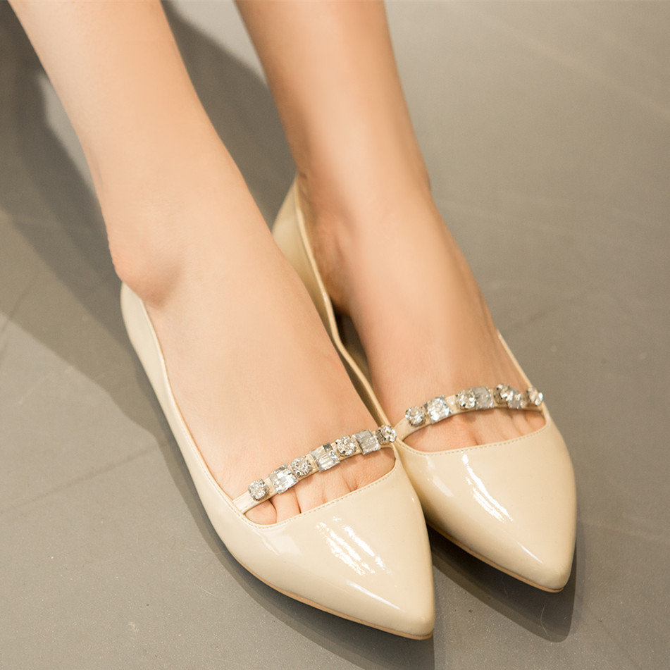 Ladies fashion ballet flats shoes women 2016 sapato feminino designer pointed toe black red silver apricot shoes big size A88-1 new 2017 spring summer women shoes pointed toe high quality brand fashion womens flats ladies plus size 41 sweet flock t179