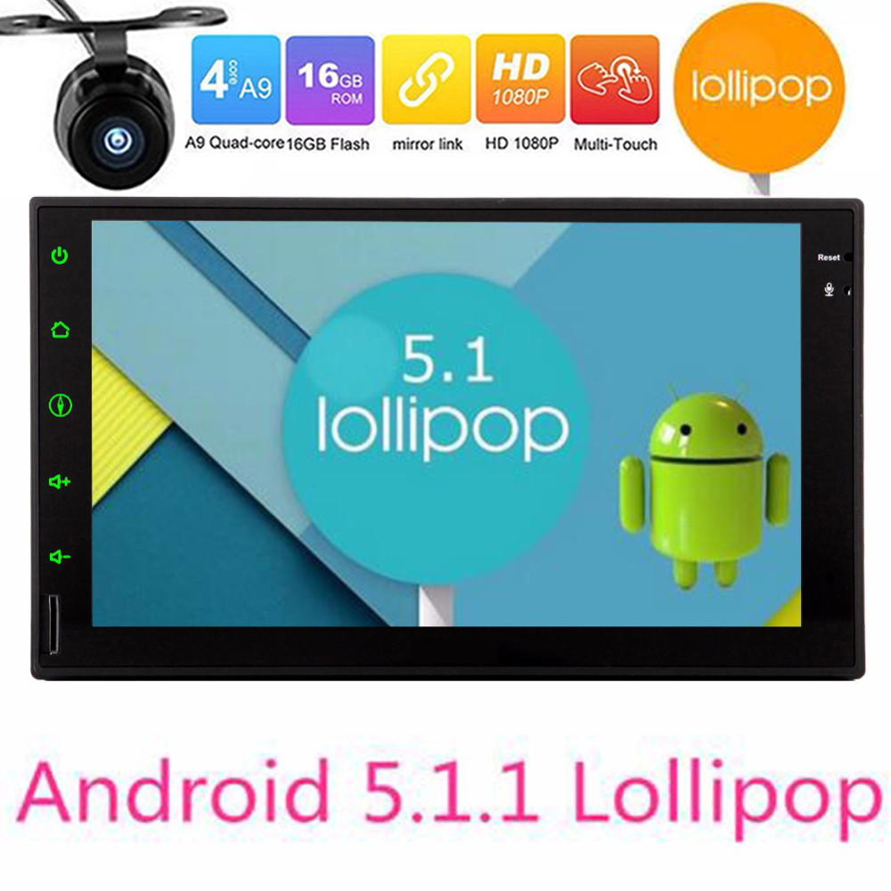 Android 5.1 Car Multimedia Player Car PC Tablet Double 2 din GPS Navigation Car gps Stereo Radio Bluetooth NO DVD player camera