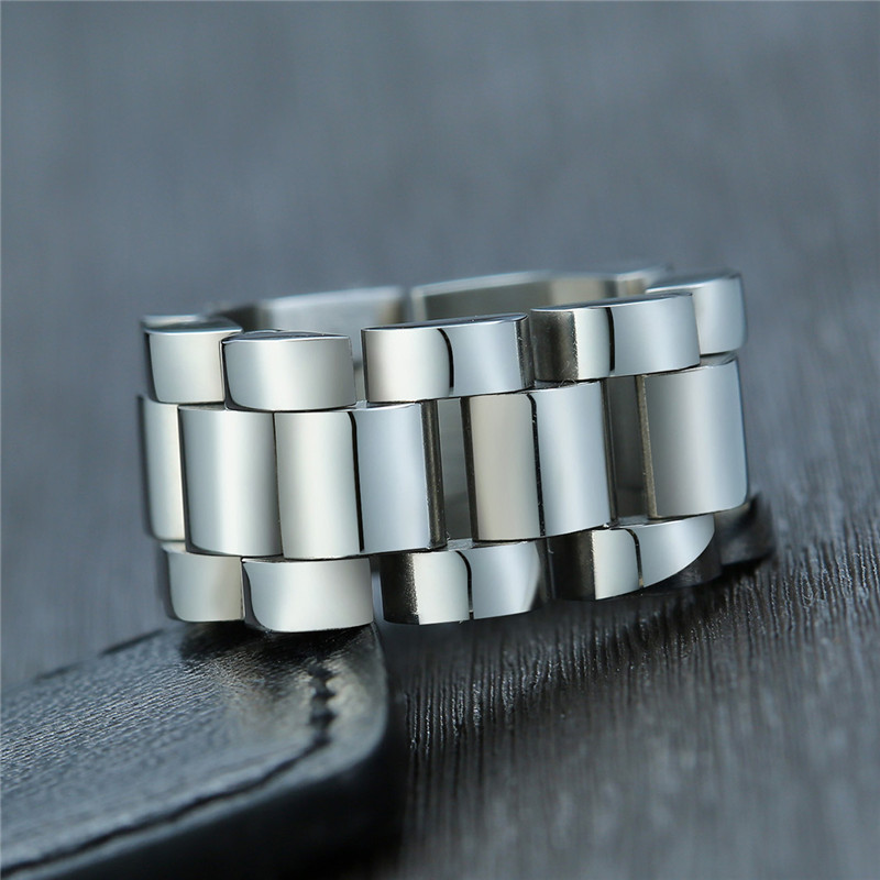 ZORCVENS Stylish Mens 10MM Chunky Chain Rings High Polished Stainless Steel Wedding Bands Alliance anel masculino(China)
