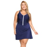 Women's One Piece Zip Front Skirted Plus Size Swimdress Swimsuit