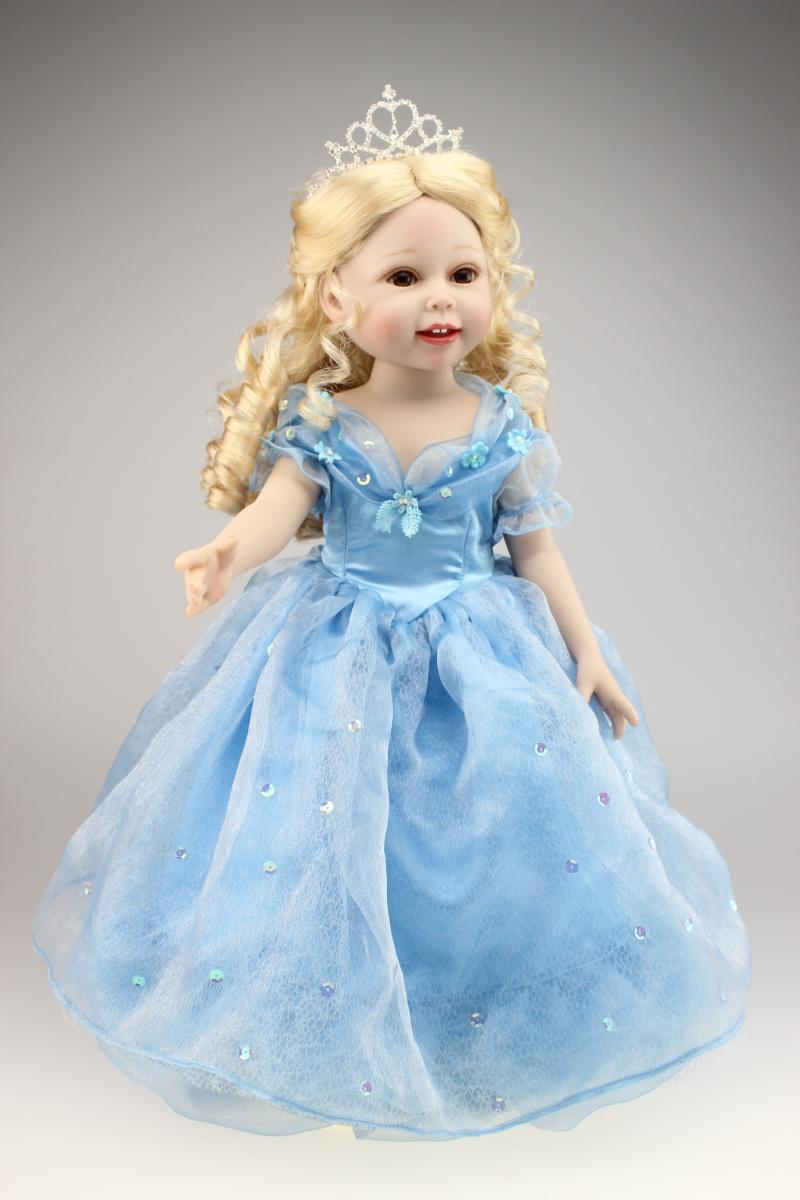 ФОТО 18 inches  girl doll full vinly lifelike  girl princess boneca brinquedos New Year present AMERICAN PRINCESS toys for girls