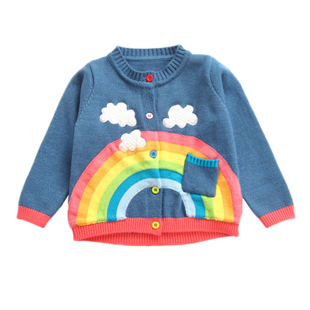 83f875713 2018 children sweater spring baby girls rainbow clouds sweater kids  clothing knitting cardigan long sleeve tops