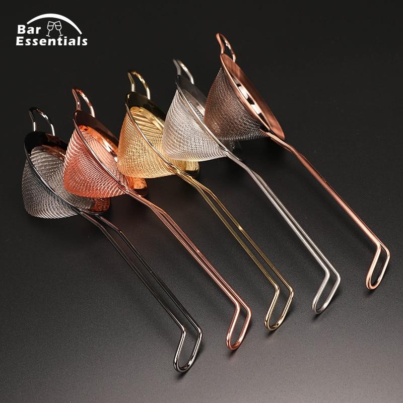 304 Edelstahl Weißdorn Cocktail Sieb Feine Mesh Julep Saft Sieb Kupfer Gold Farbe bar werkzeuge Für Bartender