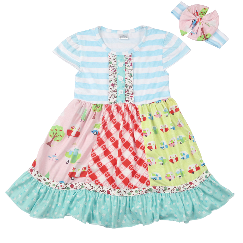 New   Flowers     Girl     Dress   Summer Baby   Girl   Fashion Button   Dress   With Headband Boutique Remake   Girls   Clothing LYQ801-043