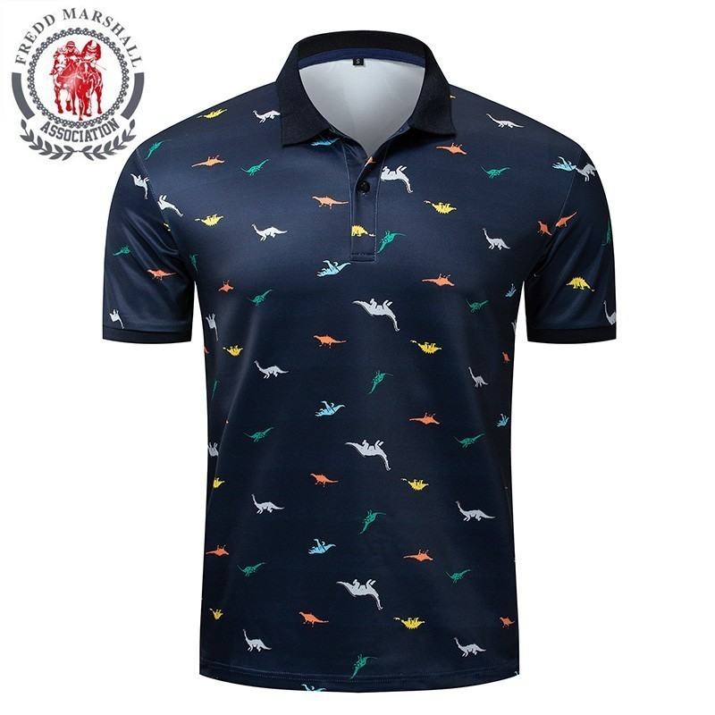 FREDD MARSHALL Men Shirts Polos Para Hombre Summer Dinosaur Printed Polo Shirt Men Short Sleeve Homme Cotton Mens Polos 046
