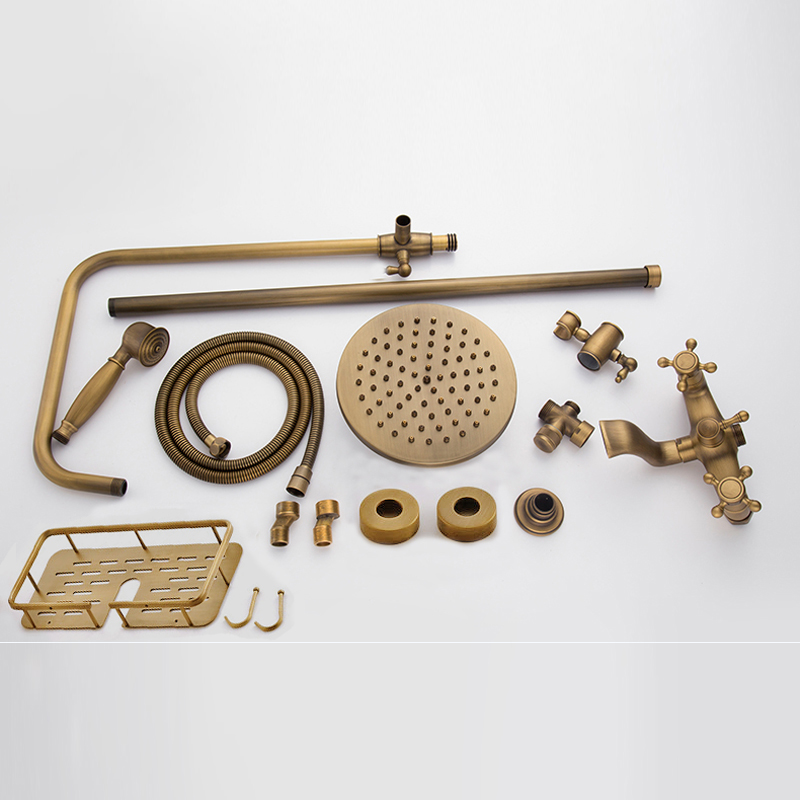Antique-Brass-Wall-Mounted-Bathtub-Shower-Set-Faucet-Dual-Handle-with-Commodity-Shelf-Bathroom-Shower-Mixers
